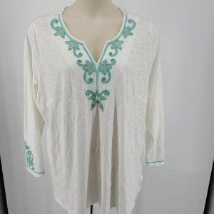 Charter Club Womens Plus Embroidered Beaded Tunic